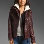 Mackage Distressed Leather Veruca Shearling Jacket in Merlot