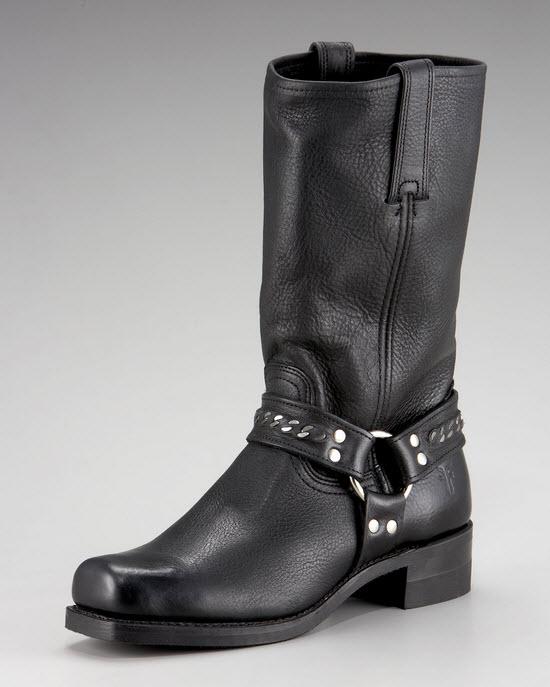 Frye Harness Black 12R Chain Boot