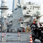 Max Biaggi Tests Pirelli Angel GT Tires on Italian Aircraft Carrier