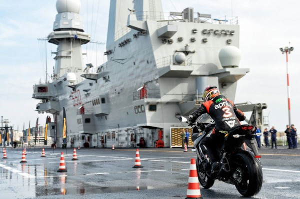 Max Biaggi Tests Pirelli Angel GT Tires on Italian Aircraft Carrier