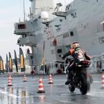 Max Biaggi Tests Pirelli Angel GT Tires on Italian Aircraft Carrier_1