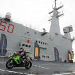 Max Biaggi Tests Pirelli Angel GT Tires on Italian Aircraft Carrier_3