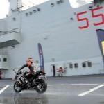 Max Biaggi Tests Pirelli Angel GT Tires on Italian Aircraft Carrier_4