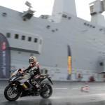 Max Biaggi Tests Pirelli Angel GT Tires on Italian Aircraft Carrier_5