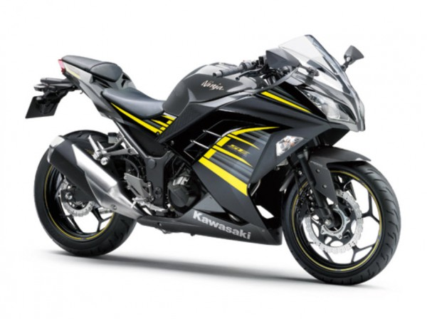 2015 Kawasaki Ninja 250 Metallic Moondust Gray Ebony with Yellow Stripe